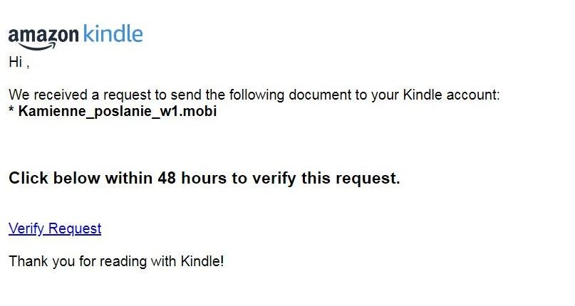 Wysyłka na Kindle - weryfikacja adresu e-mail