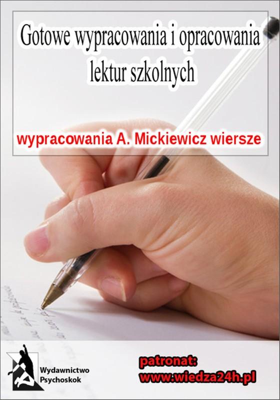 Wypracowania Adam Mickiewicz Wiersze